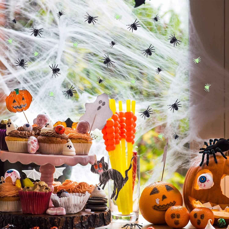 TUPARKA 300pcs Realistic Spider Plastic Mini Spiders Halloween Party Prank Props Mixed Colors Black// Luminous