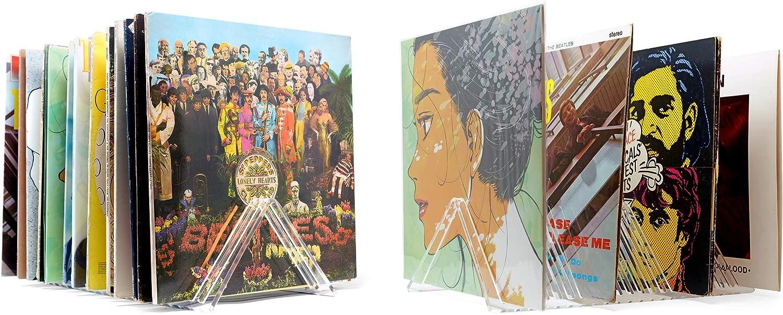 "Hudson Hi-Fi Vyramid Vinyl Record Storage Record Holder for Albums - Vinyl Organizer Record Album Storage Fits 7"" 10"" 12"" Discs 33 45 78 RPM - Acrylic Vinyl Storage Rack Holds 22LPs - Two Pack"