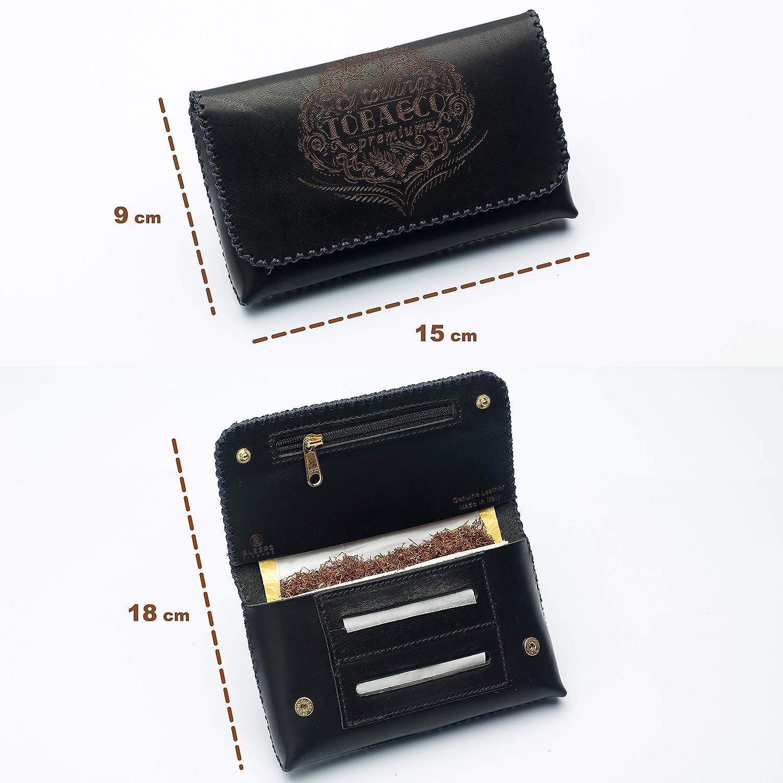 Bleeps Blague /à Tabac En Cuir V/éritable Tann/é au V/ég/étal Fabriqu/é en Italie Vintage Pochette de Tabac Cousu /à la Main Sac /à Tabac de Grande Capacit/é 30 et 40 g