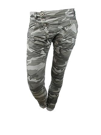f503e52ed7033 femmes pantalon jeans mozzaar Tarn de Camouflage Militaire boutons  boyfriend baggy Harem maigre tubes - gris