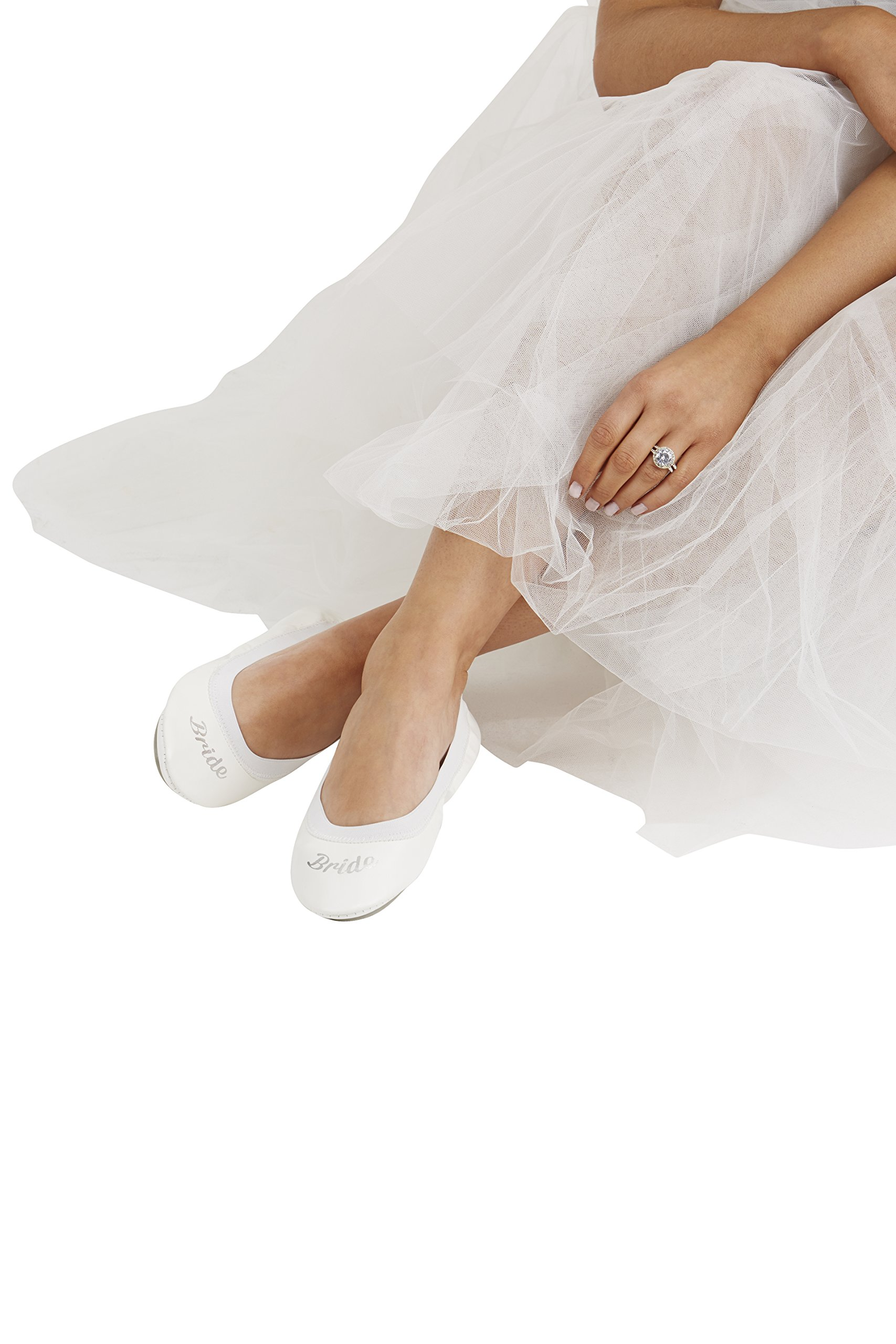 White Fold up Ballet Flats-Bridal Foldable Shoes with Bride Print-Cute Purse & Tote Carry Bag! (Large (Size 9-10))