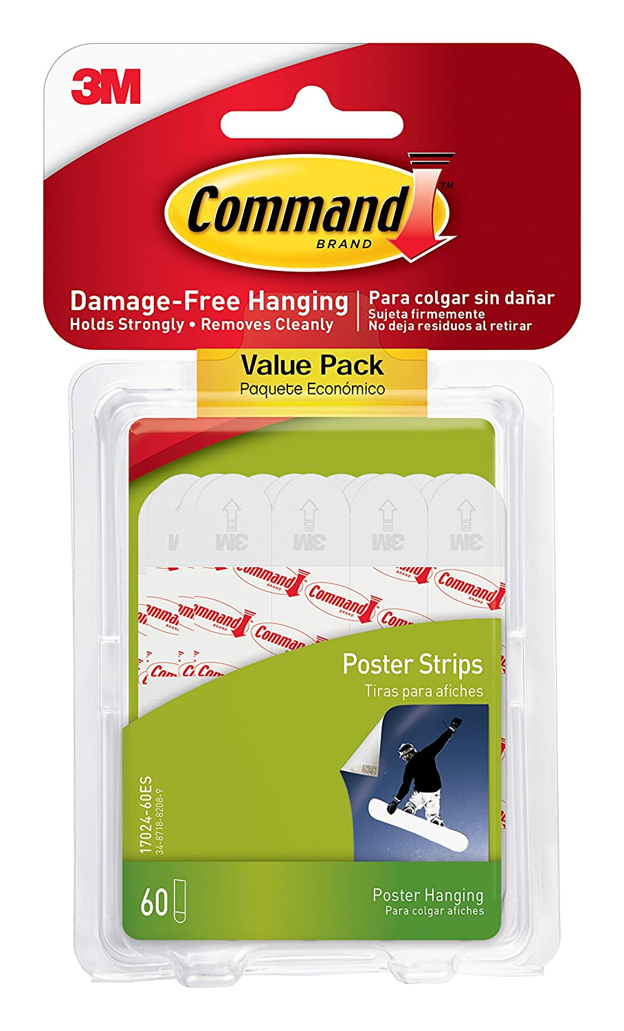 Command Poster Strips, Decorate Damage-Free, Indoor, 48 strips, Multi-Pack 17024VP