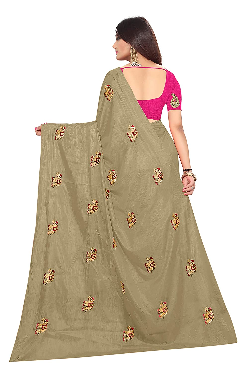2130b2ac4a8aa2 Shailaja Saree Women S Paper Silk Elephant Design Embroidery Work Saree  With Banglori Silk Blouse Piece (Gold)  Amazon.in  Clothing   Accessories