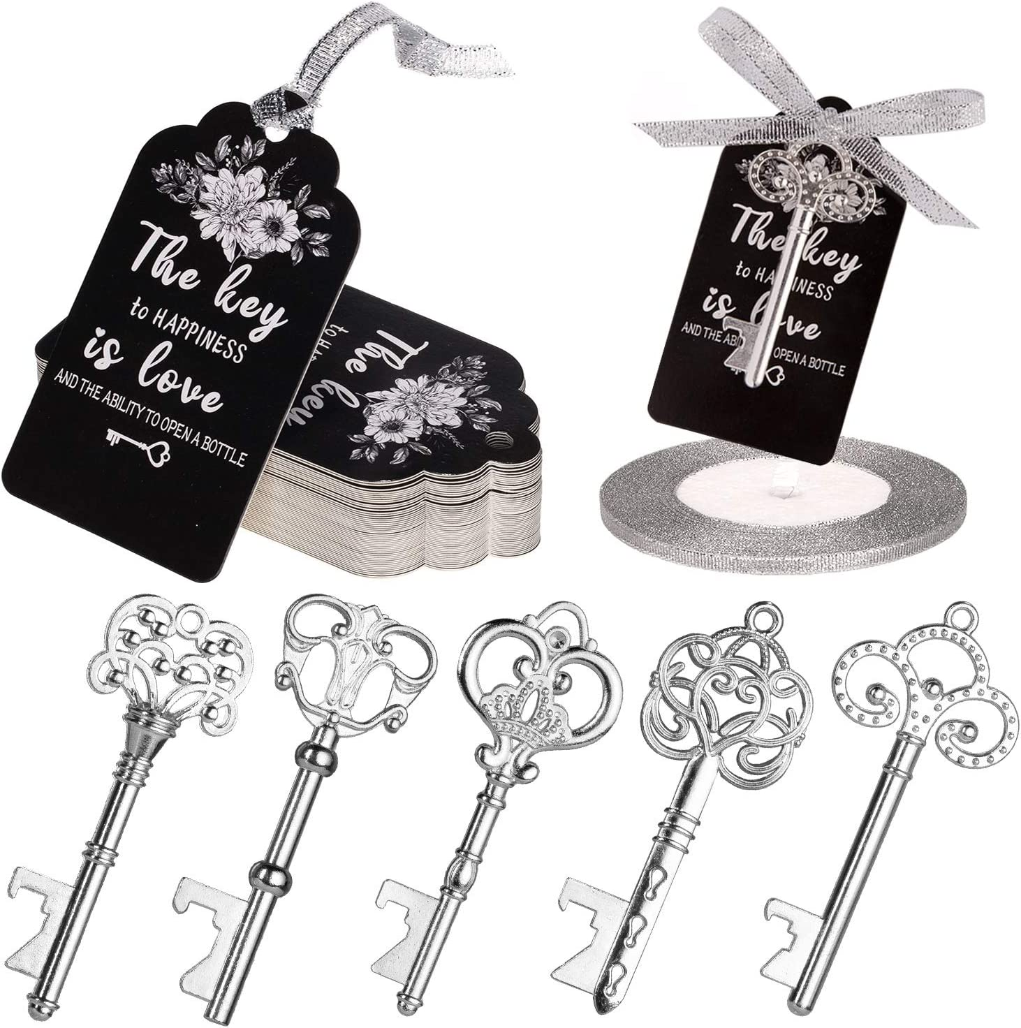 Rustic Wedding Favors Gifts Skeleton Key Bottle Opener with Tag Ribbon for Guest