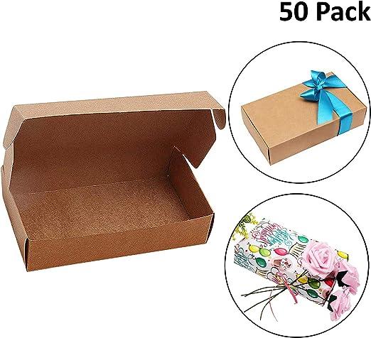 Cajas de Papel Kraft para Regalos (Pack de 50)-19x11x4.5cm Paquete a granel Marrón cajas de favor para DIY, hogar y tiendas-Paquete plano para Presentación, Fiesta, Boda, Galletas, Dulces y Joyas: Amazon.es: Oficina