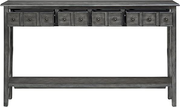 Powell Sadie Long Wood Console Table In Gray Furniture Decor Amazon Com