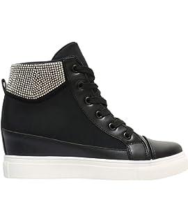 1052f2b7ca Stiefelparadies Damen Sneaker Wedges mit Keilabsatz Metallic Lack ...