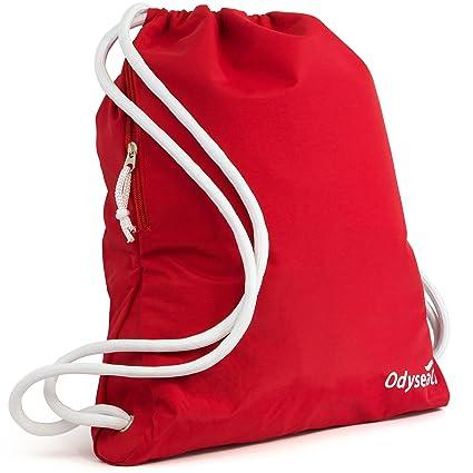 Odyseaco – Mochila de lujo con cordón y resistente al agua, bolsa para el gimnasio o la piscina, con bolsillo grande con cremallera, ideal para la ...