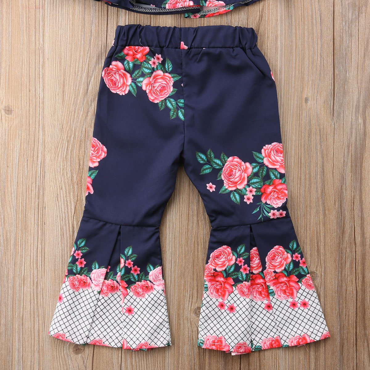 Flower Stitching Wide Leg Long Pants Set Summer 2Pcs Baby Girls Outfits Floral Halter Off Shoulder Crop Top