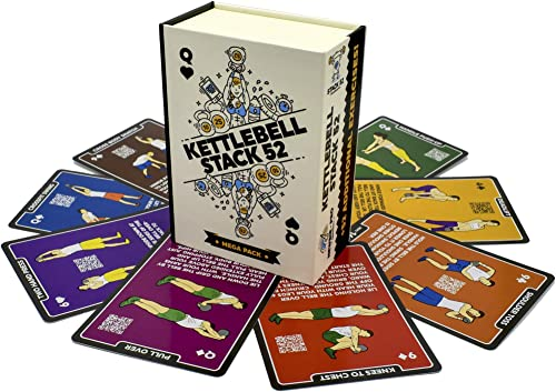 Stack 52 Kettlebell Exercise Cards. Workout Playing Card Game. Video Instructions Included. Learn Kettle Bell Moves and Conditioning Drills. Home Fitness Training Program.