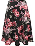 Doublju Elastic High Waist A-Line Flared Midi Skirt for Women with Plus Size (Made in USA)