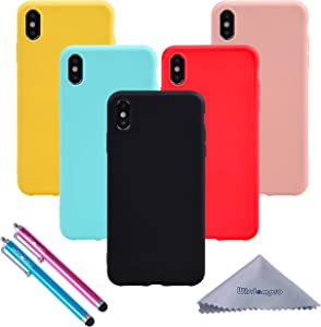 Wisdompro iPhone Xs Max Case, Bundle of 5 Pack Extra Thin Slim Jelly Soft TPU Gel Protective Case Cover for Apple iPhone Xs Max (Black, Aqua Blue, Naked Skin Pink, Yellow, Red)- Candy Color