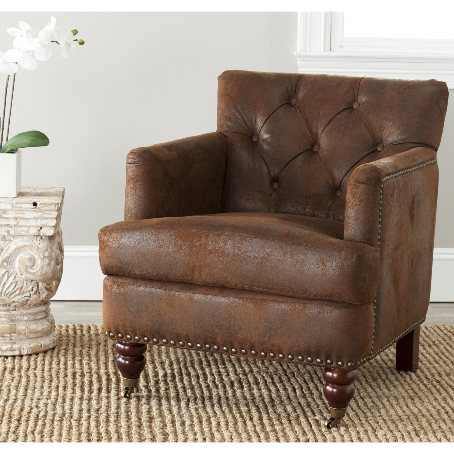 Amazon.com: Safavieh Hudson Collection Mario Antiqued Brown Club Chair:  Kitchen U0026 Dining Part 72