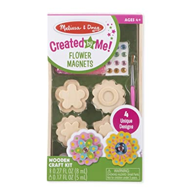 Melissa & Doug Created by Me! Flower Wooden Magnets Craft Kit - The Original (4 Designs, 4 Paints, Stickers, Glitter Glue, Great Gift for Girls and Boys - Best for 4, 5, 6 Year Olds and Up): Toys & Games