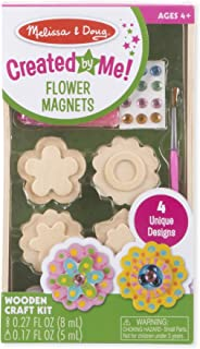 Melissa & Doug Created by Me! Flower Wooden Magnets Craft Kit - The Original (4 Designs, 4 Paints, Stickers, Glitter Glue, G