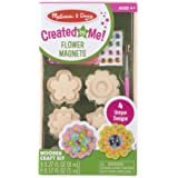 Melissa & Doug Created by Me! Flower Wooden Magnets Craft Kit (4 Designs, 4 Paints, Stickers, Glitter Glue)