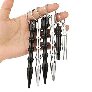 2 a 4 piezas de Kubotan en distintos colores, ergonómicos y con anilla de seguridad. Llavero con o sin señal de silbato SOS