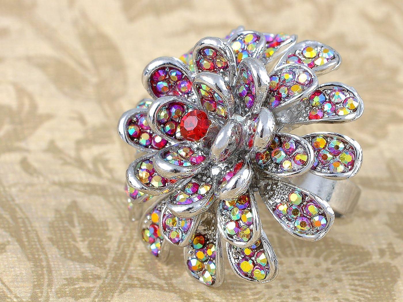 Fire Ruby Red Rhinestone Carnation Flower Fashion Custom Adjustable Ring Jewel