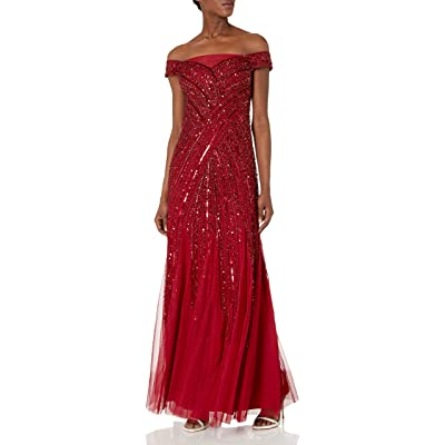 Adrianna Papell Women's Beaded Off Shoulder Gown at Amazon Women's Clothing store