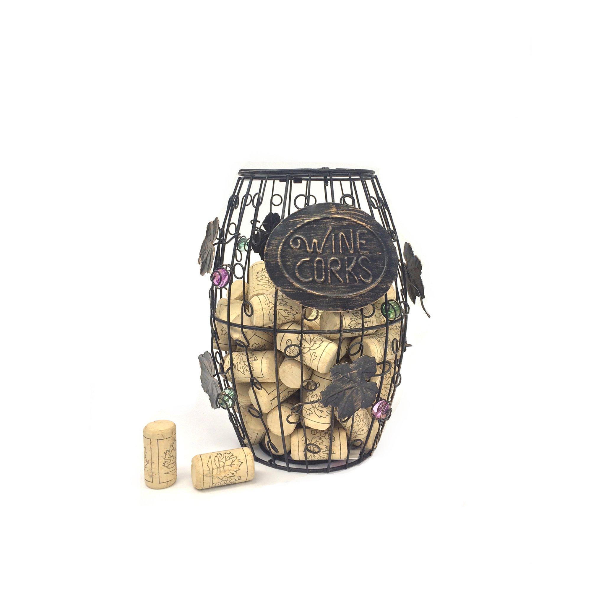 Mind Reader Wine Barrel Cork Holder, Wine Cork Holder, Cork Storage, Bronze by Mind Reader