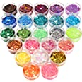 24 Boxes Holographic Chunky Glitter, FANDAMEI 24 Colors 5g Nail Art Glitter, Glitter Flakes for Body, Face, Festival Makeup.