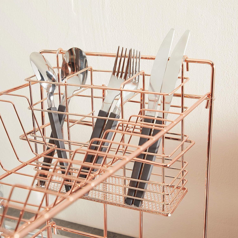 Ahorro de Espacio para la Cocina y el Fregadero Organizacion VonShef Escurridor de Platos de Oro Rosa//Cobre