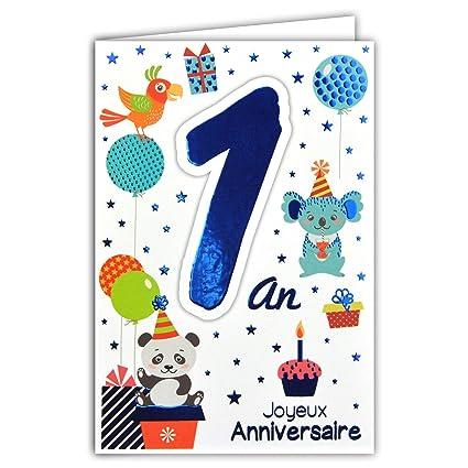 69-2000 - Tarjeta feliz cumpleaños de 1 año para bebé o niña ...