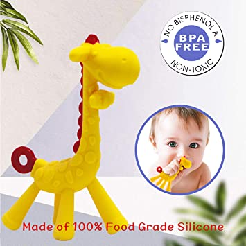 Baby Teething Toys 100/% Silicone teether with Pacifier Clip//Holder