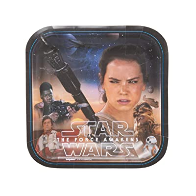 "Star Wars Episode VII Assorted Square Plates, 7"", Party Favor: Toys & Games"