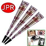 3x JPR Golecha Originale Natürliche Kegel Cones für Temporäre Mehndi Tattoos (Rotbraun) + SRK Postkakarte