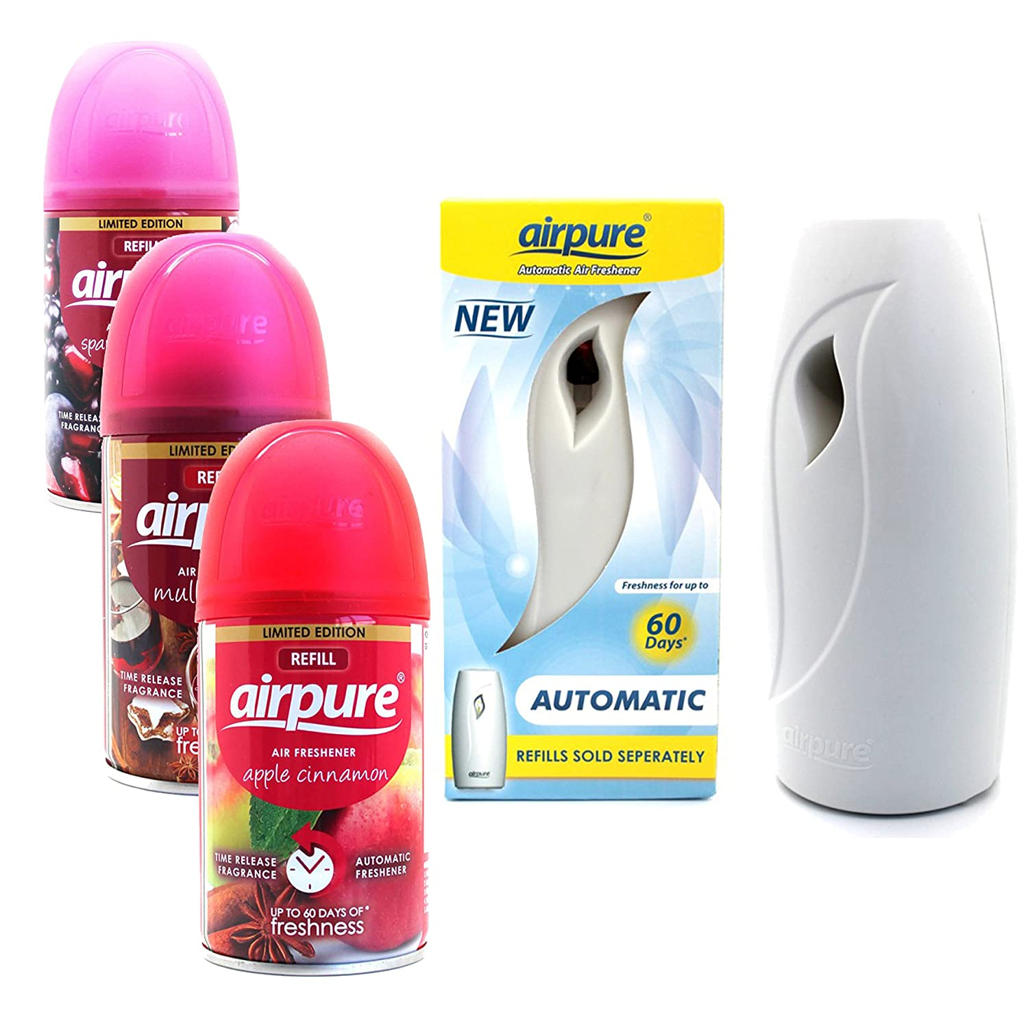 Airpure Air Freshner Automatic Spray Machine 3 x Refills Christmas Scent Airwick Compatible