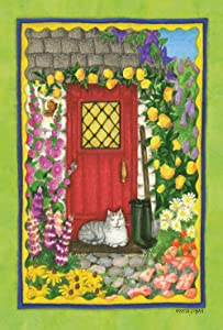 Toland Home Garden Cottage Kitty 12.5 x 18 Inch Decorative Spring Summer Flower Cat Porch Garden Flag