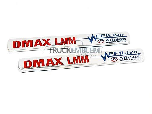 "PAIR BLACK and WHITE Duramax Diesel /""DMAX 6.6L/"" Allison EFI LIVE BADGES 2 New"