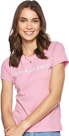CALVIN KLEIN Jeans Women's Institutional Logo Slim Fit T-Shirt, Begonia Pink, M