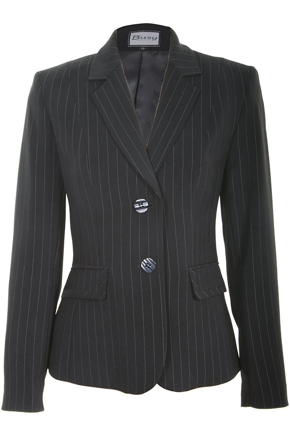 Busy Clothing Womens Black Stripe Suit Jacket
