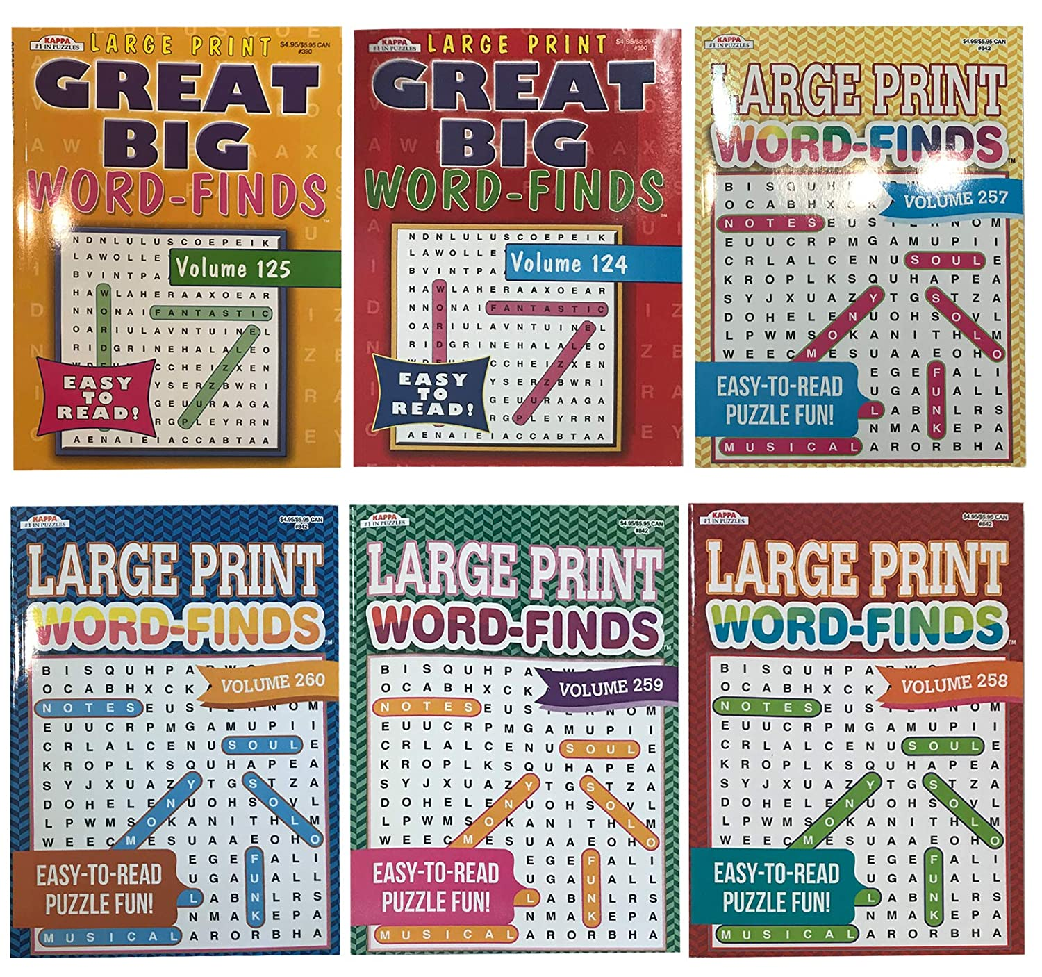 4b715de0bceeef Word Search Puzzle Book Bundle (6-Pack Bundle) Easy-to-Read Large Print