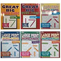 Word Search Puzzle Book Bundle (6-Pack Bundle) Easy-to-Read Large Print | 80 Challenging Searching Games Each | Men, Women, Adults, Seniors | Less Eye Fatigue & Strain