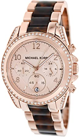 f66cd99f6728 Image Unavailable. Image not available for. Color  Michael Kors Women s  MK5859 - Blair Rosegold ...