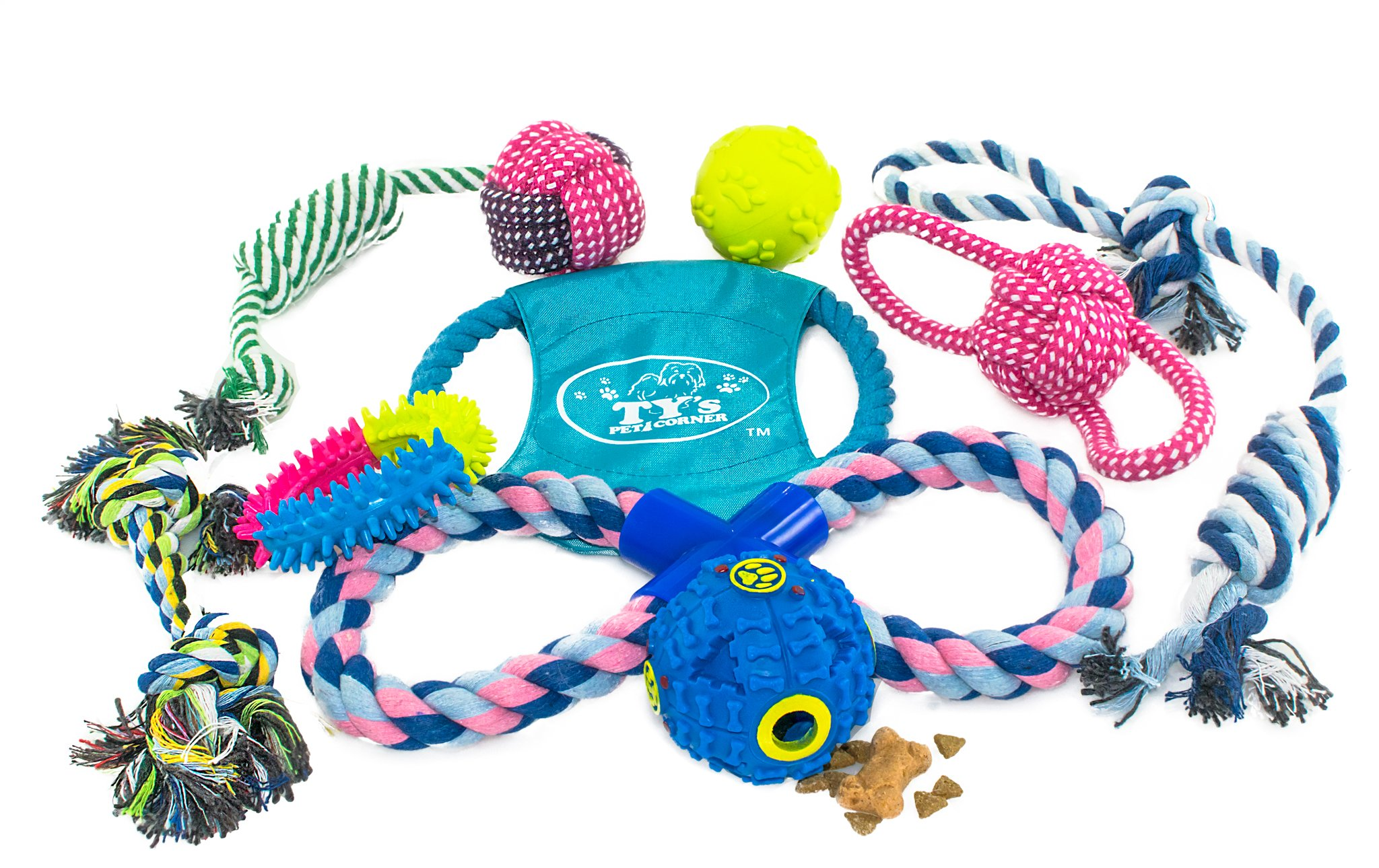 Ty's Pet Corner Dog Toy Variety Pack of Rope Toys, Rope Balls, Squeaky and Puppy Chew Toys Including IQ Treat Dispensing Ball, Interactive Dog Frisbee, Fetch Toys, Tug of War, Puppy, Small/Medium Dogs
