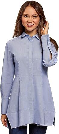 oodji Ultra Mujer Camisa Larga con Botones Ocultos: Amazon.es: Ropa y accesorios