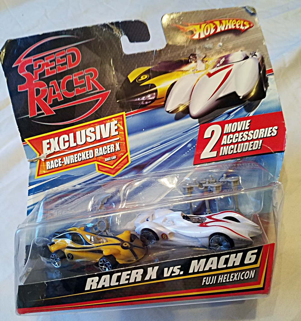 Amazon com hot wheels racer x vs mach 6 fuji helexicon exclusive race wrecked racer x race car with 2 movie accessories nib toys games