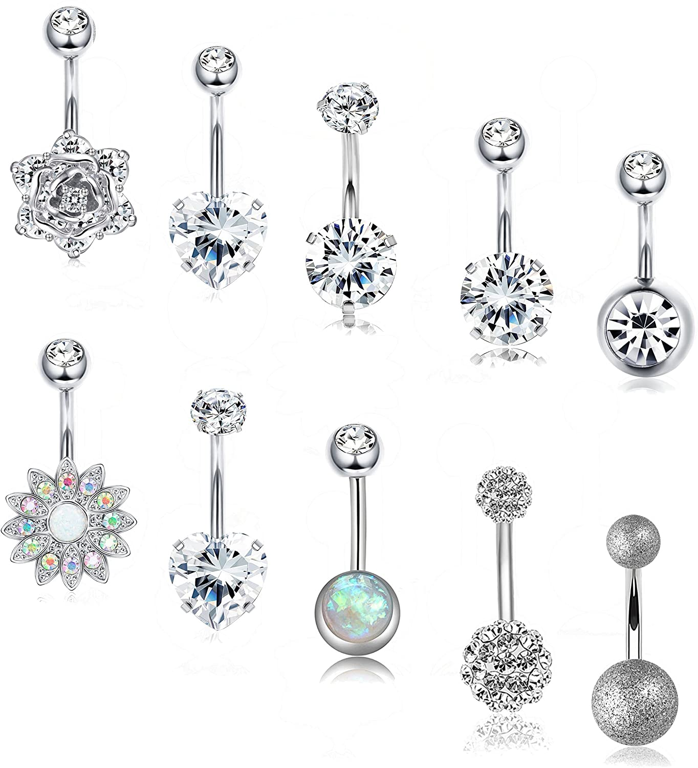 Lolias 8 21 Pcs 14g Belly Button Rings For Women Girls Navel Barbell Rings Body Piercing Jewelry