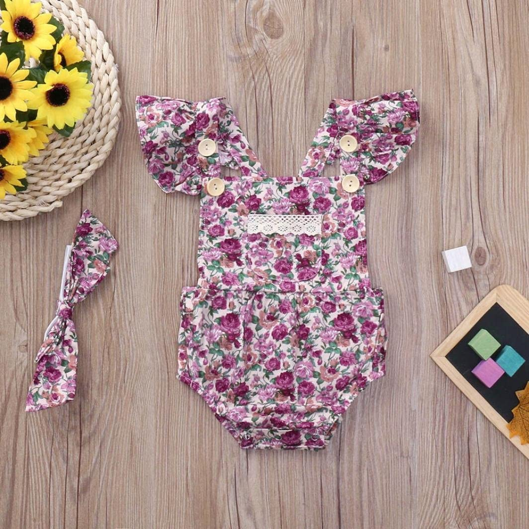 Jchen TM Summer Infant Baby Girls Floral Ruffles Backless Romper Jumpsuit Headband Sets for 0-24 Months