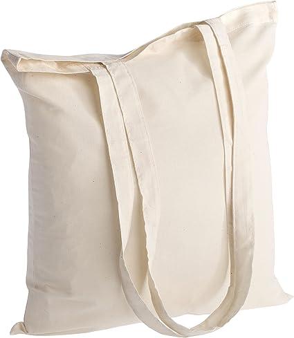 Il modello pi/ù popolare. Borsa shopper in cotone di qualit/à 10 pezzi 145 g//m2 dimensioni 38x42 cm manici lunghi 70 cm natura 100/% cotone