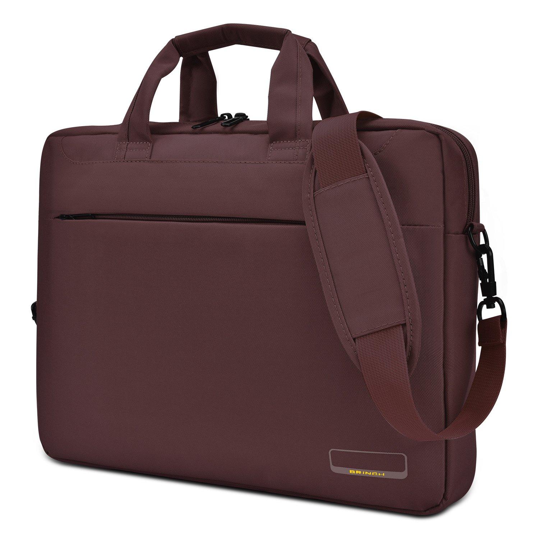 15.6 Inch Laptop Bag for College Work Outdoor Business Travel Slim Lightweight Water Resistant Shockproof Nylon Handbag Men's Messenger Briefcase with Luggage Strap Notebook Sleeve,Brown