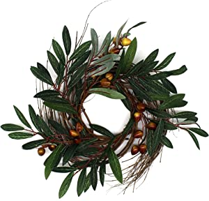 CVHOMEDECO. Rustic Country Artificial Olive Branch and Twig Wreath, Year Round Full Green Wreath for Indoor or Outdoor Display, 12-Inch