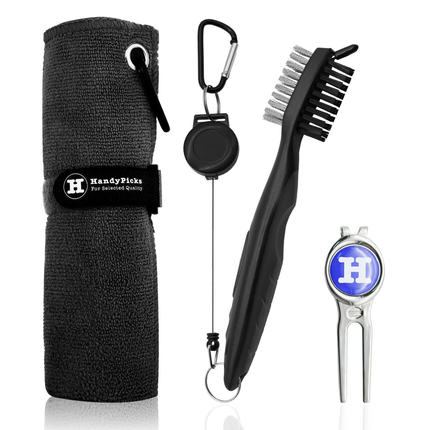 Handy Picks Microfiber Golf Towel (16'' X 16'') with Carabiner, Club Brush, Golf Divot Repair Tool with Ball Marker - Golf Accessories, Ideal for Golfers - 3 in 1 Golf Cleaning Kit (Pack of 3, Black)