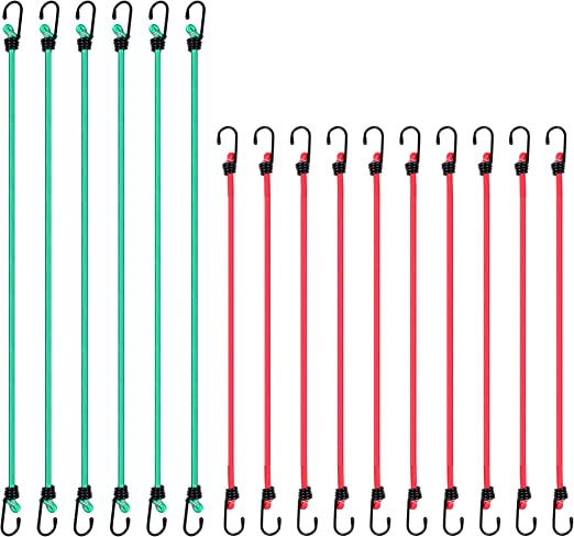 CARTMAN Bungee Cords 16pcs with Coated Steel Hook