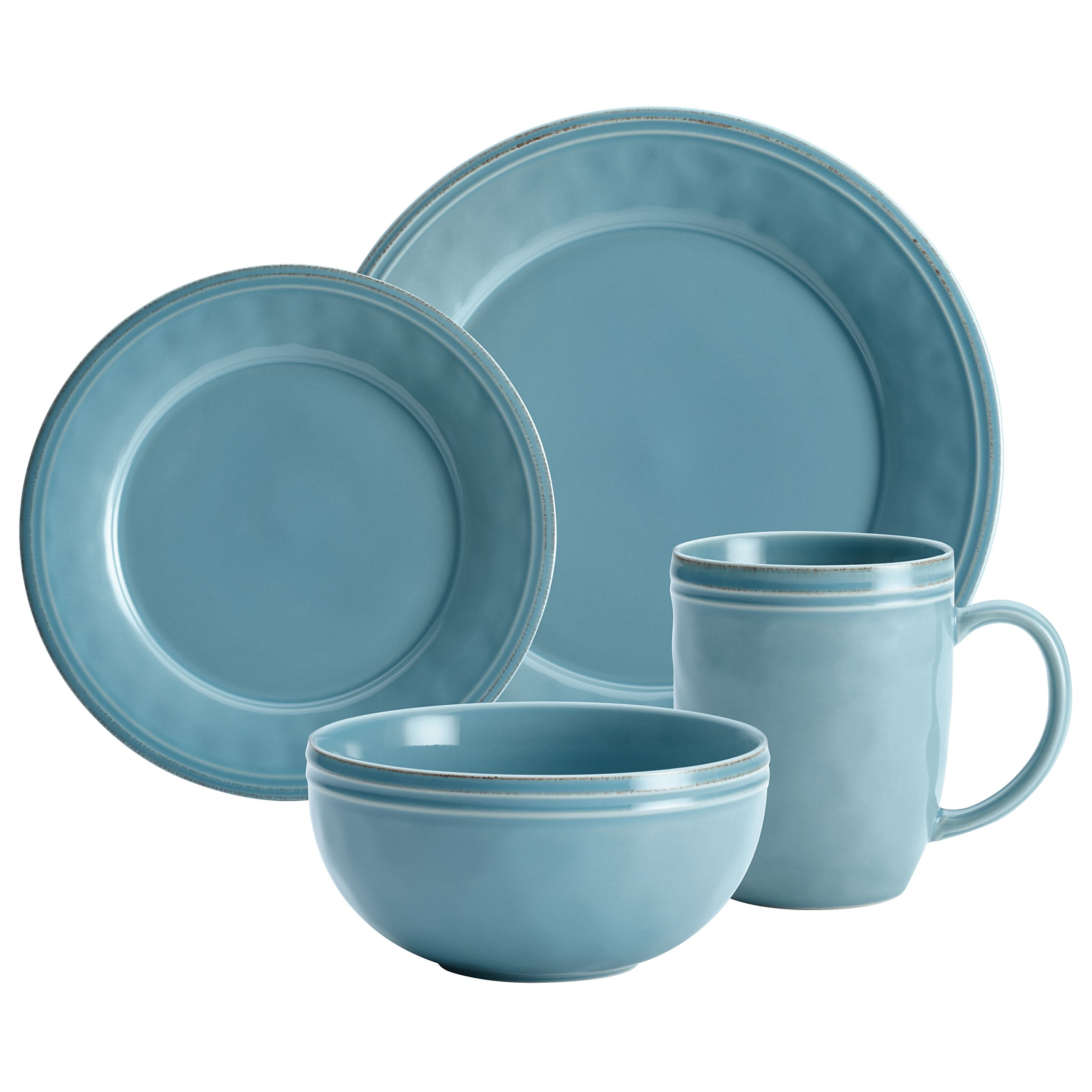 Rachael Ray Cucina Dinnerware 16-Piece Stoneware Dinnerware Set, Agave Blue by Rachael Ray (Image #5)