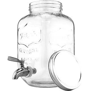 One Gallon Glass Mason Jar Beverage Dispenser w/Stainless Steel Spigot, Retro Yorkshire Style